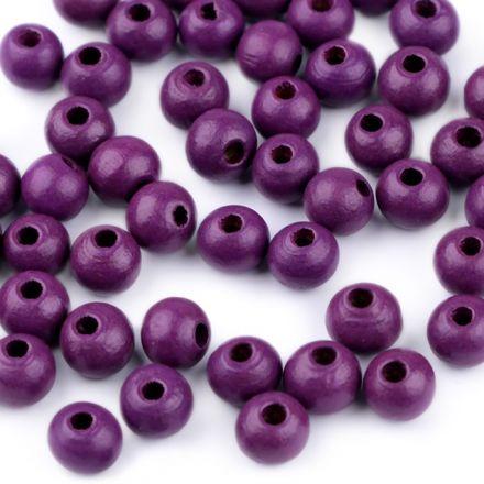 Galanterie: Dřevěné korálky 8 mm (60ks) - fialová