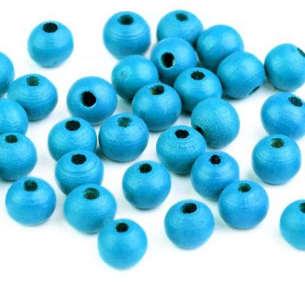 Galanterie: Dřevěné korálky 8 mm (60ks) - modrý neon