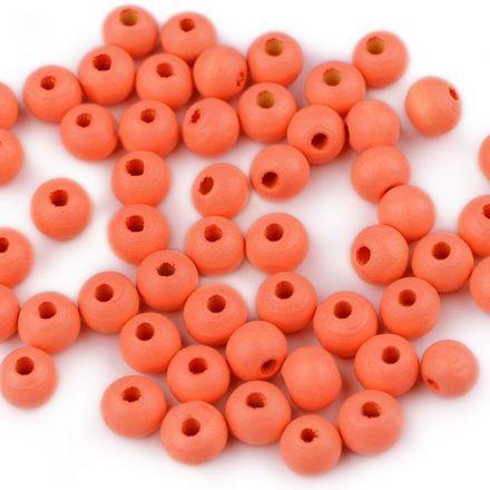 Galanterie: Dřevěné korálky 8 mm (60ks) - oranžová dýňová