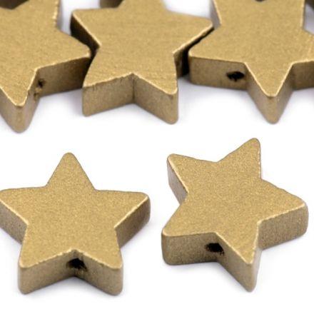 Galanterie: Dřevěné korálky hvězda 19 mm (10ks) - zlatá
