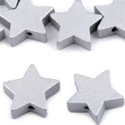 Galanterie: Dřevěné korálky hvězda 19 mm (10ks) - stříbrná