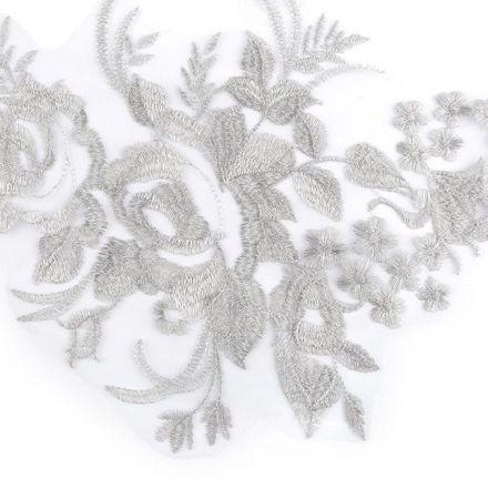Galanterie: Lurexová aplikace / vsadka - šedá stříbrná