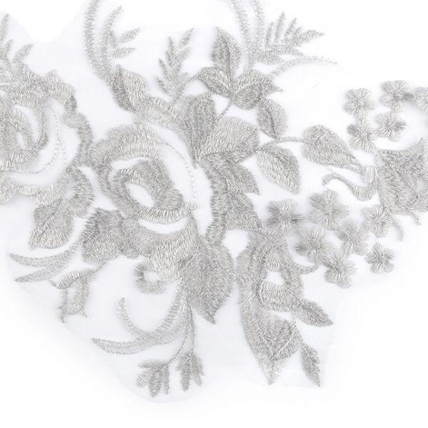 Lurexová aplikace / vsadka - šedá stříbrná