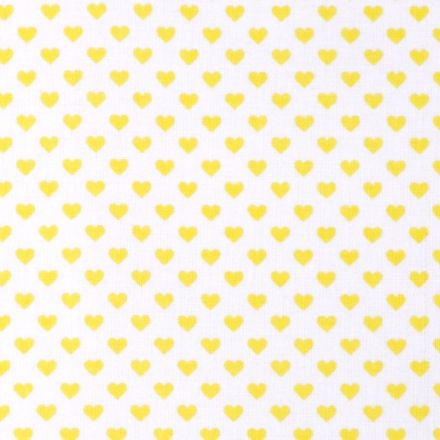 Metráž: Bavlna srdíčka bílá - žlutá