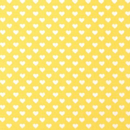 Metráž: Bavlna srdíčka žlutá - bílá