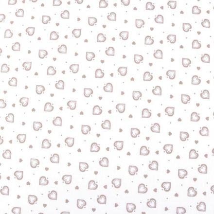 Metráž: Bavlna srdíčka bílá - béžová