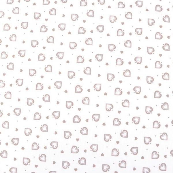 Bavlna srdíčka bílá - béžová