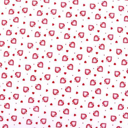 Metráž: Bavlna srdíčka bílá - červená