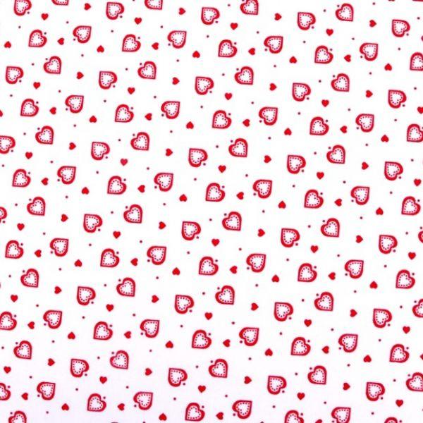 Bavlna srdíčka bílá - červená