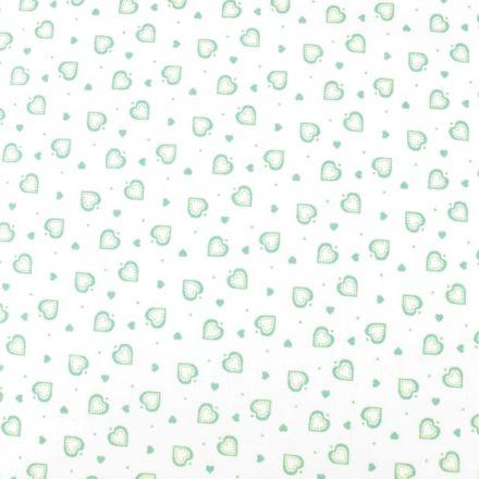 Metráž: Bavlna srdíčka bílá - mint
