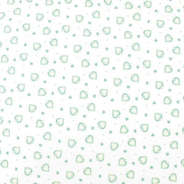Bavlna srdíčka bílá - mint
