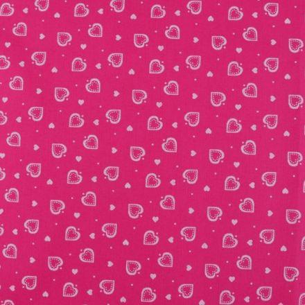 Metráž: Bavlna srdíčka pink - bílá