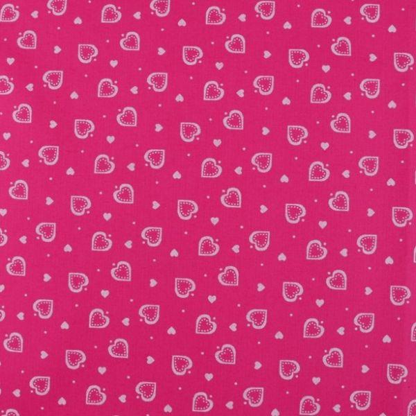 Bavlna srdíčka pink - bílá