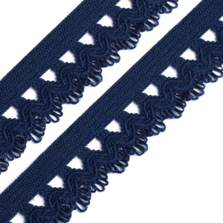 Galanterie: Ozdobná pruženka šíře 15 mm - tmavě modrá