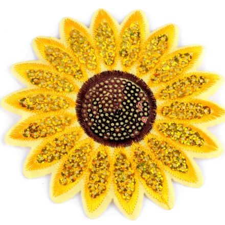 Galanterie: Nažehlovačka slunečnice s flitry