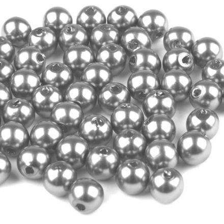 Galanterie: Plastové korálky 6mm (60ks) - šedá