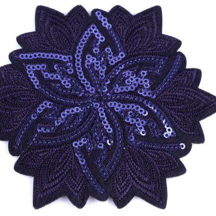 Galanterie: Nažehlovačka květ s flitry - modrofialová