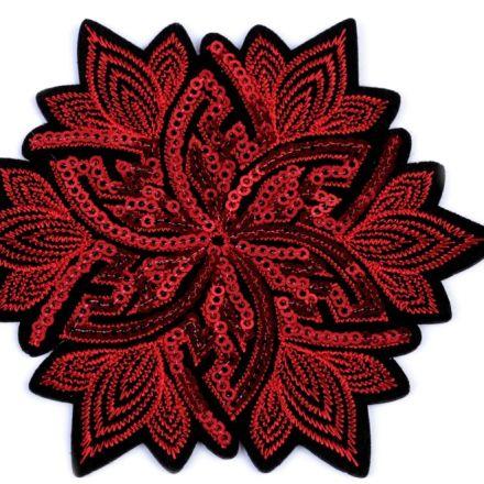 Galanterie: Nažehlovačka květ s flitry - červená