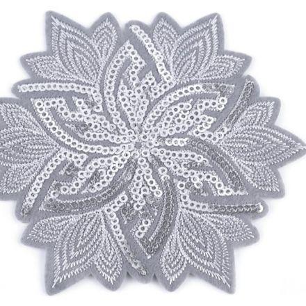 Galanterie: Nažehlovačka květ s flitry - šedá