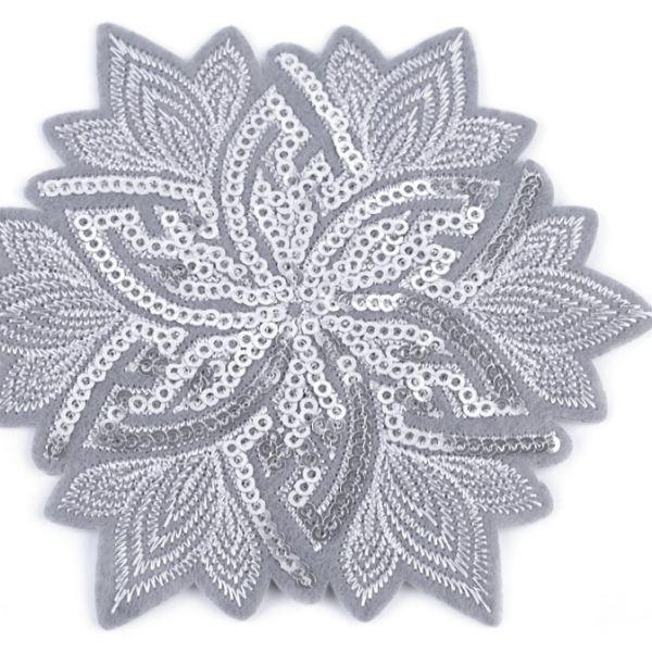 Nažehlovačka květ s flitry - šedá
