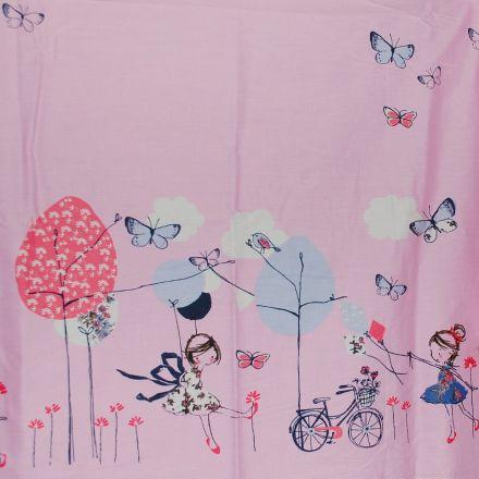 Metráž: Bavlna bordura - růžová