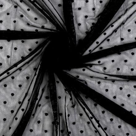Metráž: Elastický tyl s puntíky - černá