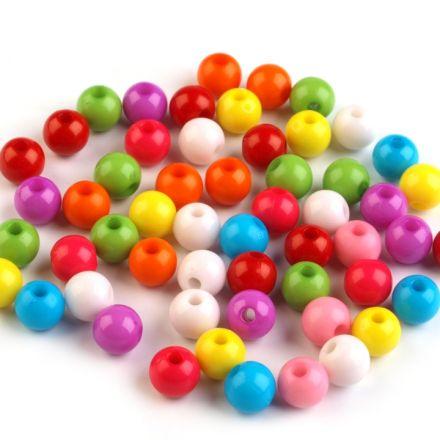 Galanterie: Plastové korálky Color mix 7 mm - (50ks)