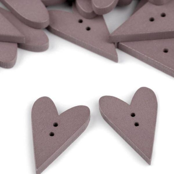 Dřevěný dekorační knoflík srdce (1ks) - šedá