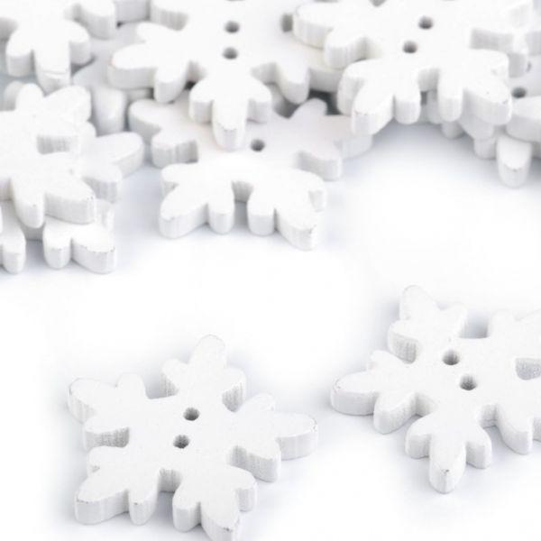 Dřevěný dekorační knoflík vločka (1ks) - bílá