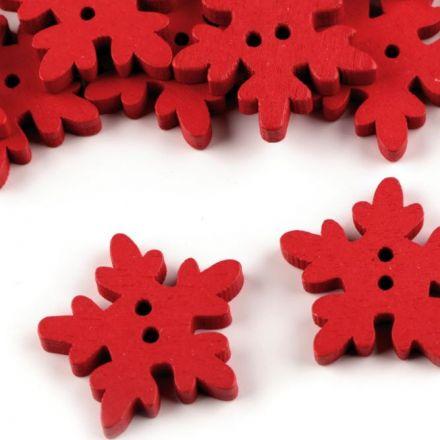 Galanterie: Dřevěný dekorační knoflík vločka (1ks) - červená