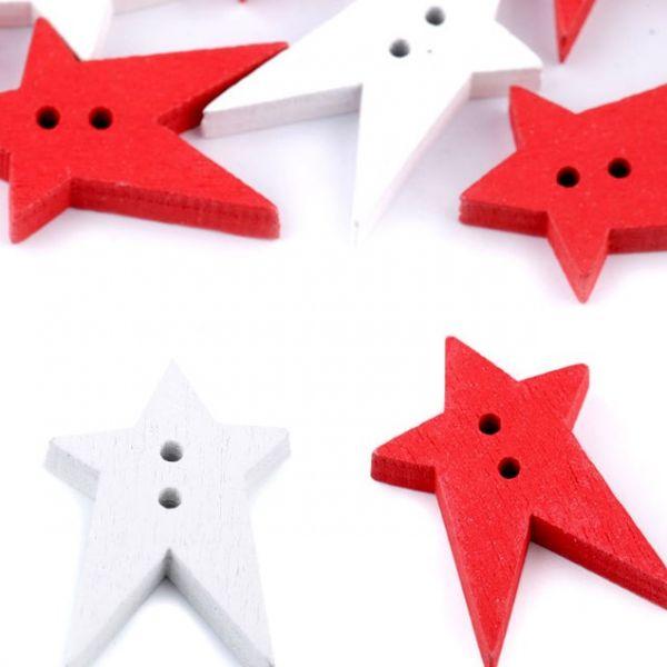 Dřevěný dekorační knoflík hvězda (2ks) - mix