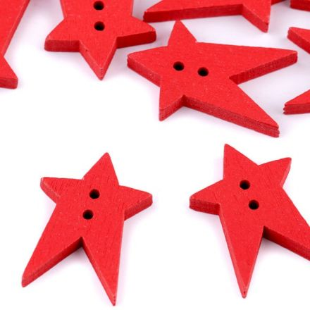 Galanterie: Dřevěný dekorační knoflík hvězda (1ks) - červená
