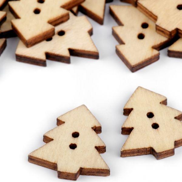Dřevěný dekorační knoflík stromek (1ks) - buk