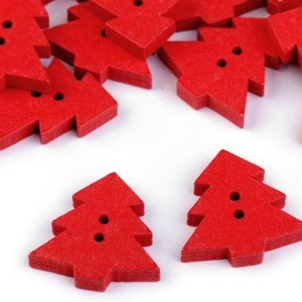Galanterie: Dřevěný dekorační knoflík stromek (1ks) - červená