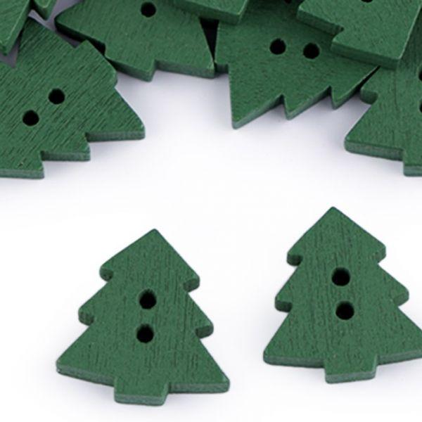 Dřevěný dekorační knoflík stromek (1ks) - zelená