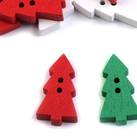 Galanterie: Dřevěný dekorační knoflík stromek (3ks) - mix
