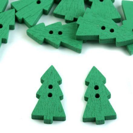 Galanterie: Dřevěný dekorační knoflík stromek (1ks) - zelená