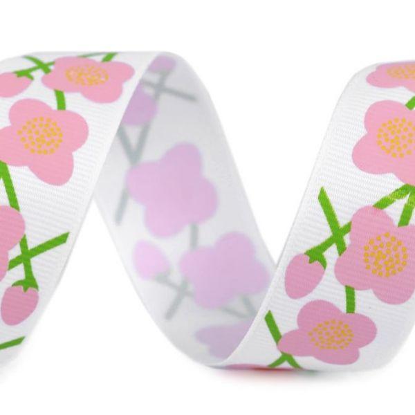 Rypsová stuha květy šíře 26 mm