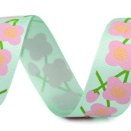 Galanterie: Rypsová stuha květy šíře 26 mm