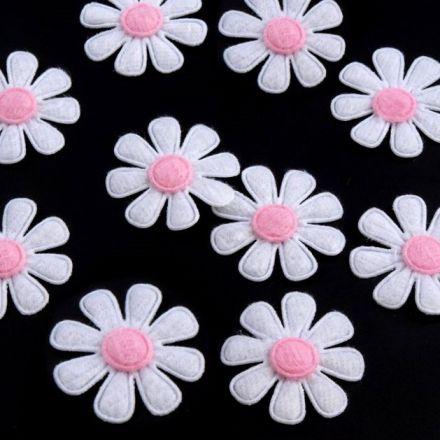 Galanterie: Květ z filcu 27 mm (10ks) - bílá