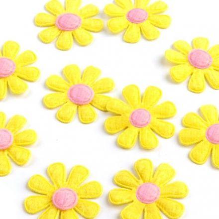 Galanterie: Květ z filcu 27 mm (10ks) - žlutá