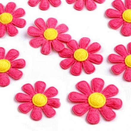 Galanterie: Květ z filcu 27 mm (10ks) - růžová