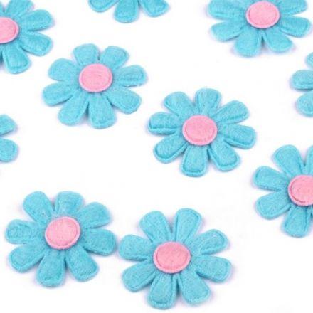 Galanterie: Květ z filcu 27 mm (10ks) - modrá