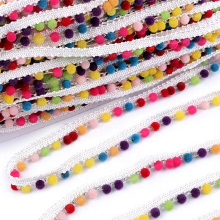 Galanterie: Prýmek / paspulka se sametovými perlami 12 mm