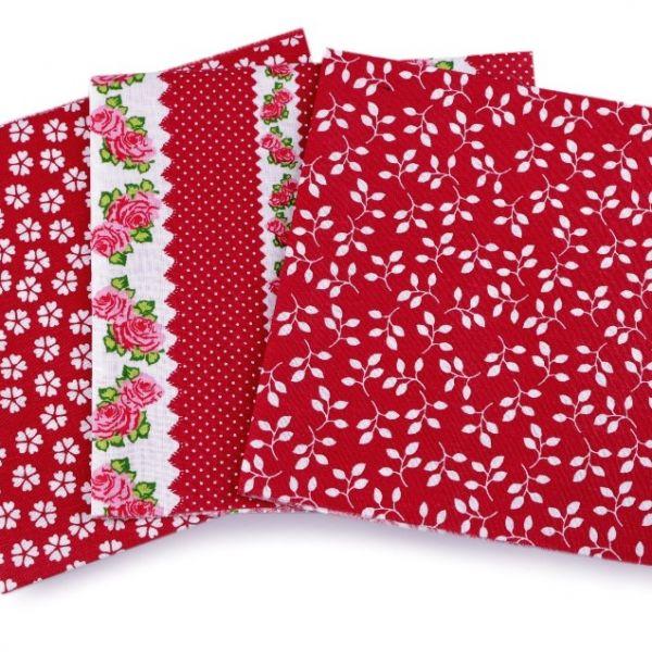 Sada bavlněných látek 35 x 35 cm (3ks) - červená