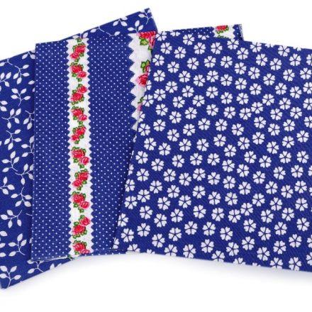 Metráž: Sada bavlněných látek 35 x 35 cm (3ks) - modrá