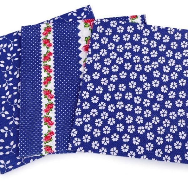 Sada bavlněných látek 35 x 35 cm (3ks) - modrá