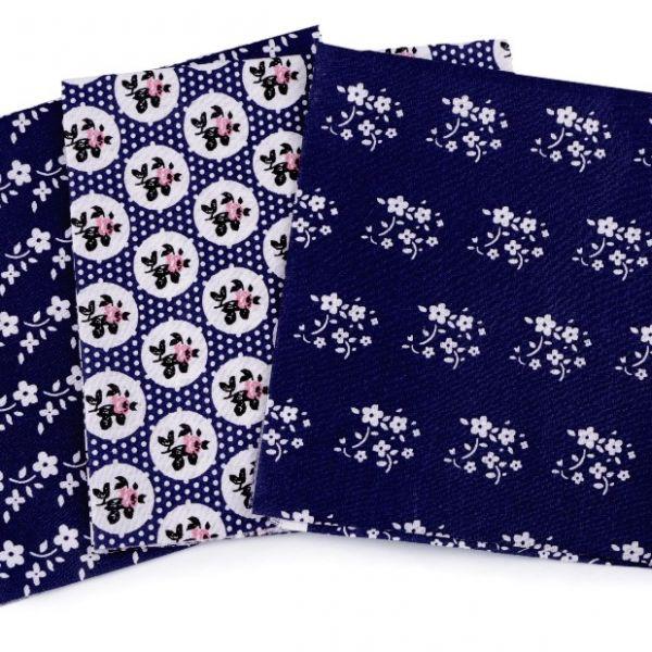 Sada bavlněných látek 35 x 35 cm (3ks) - tm.modrá