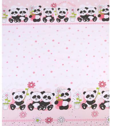 Metráž: Bavlněná látka panda - růžová