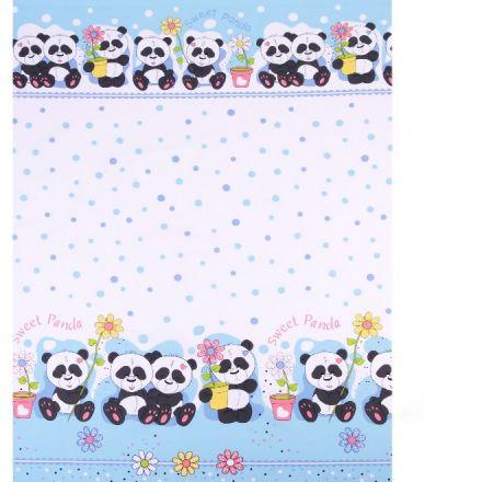 Metráž: Bavlněná látka panda - modrá